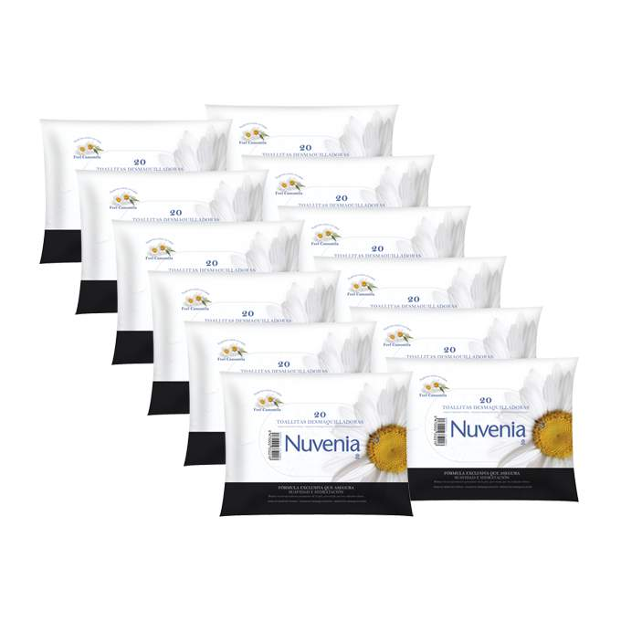 Caja de 12 paquetes de toallitas nuvenia 20 uds