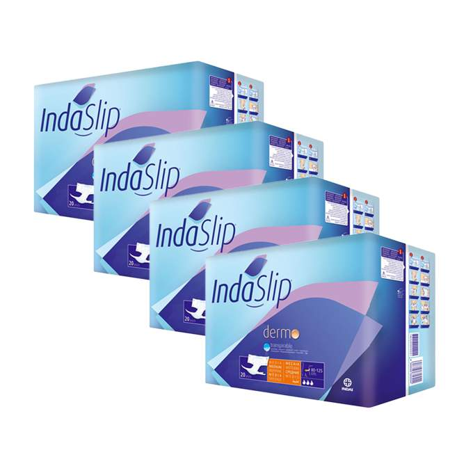 Caja de 4 paquetes de pañales Indaslip Talla media