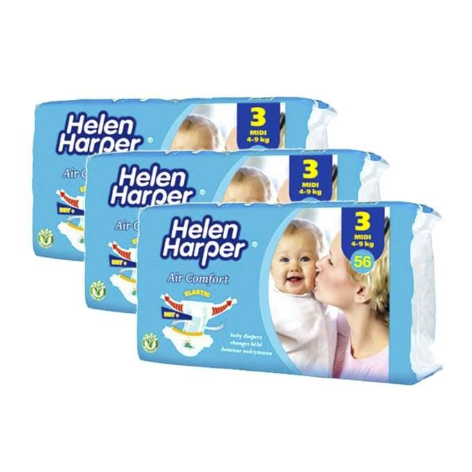 Caja de 3 paquetes de pañales helen harper air comfort Talla 3