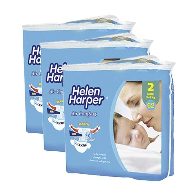 Caja de 3 paquetes de pañales helen harper air comfort Talla 2