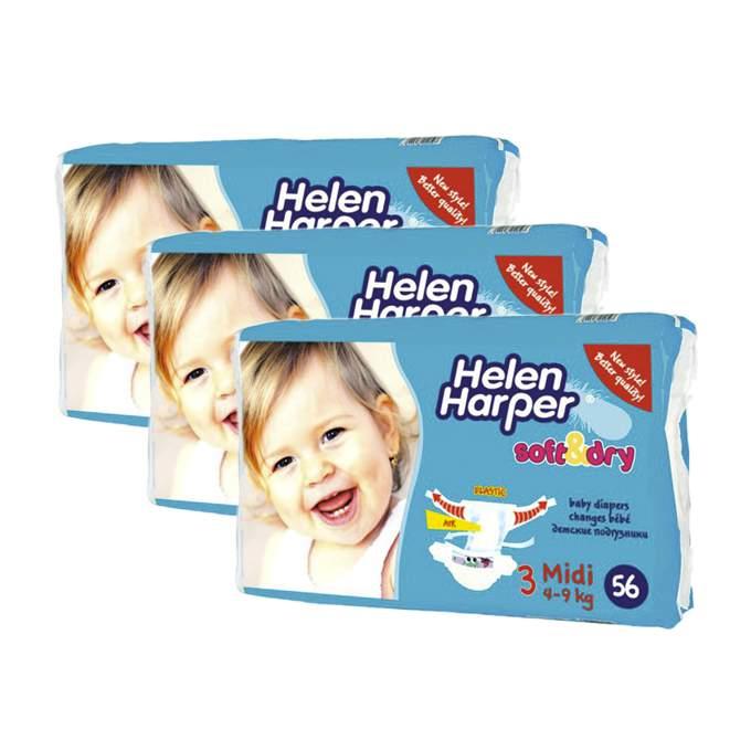 Caja de 3 paquetes de pañales helen harper soft&dry Talla 3