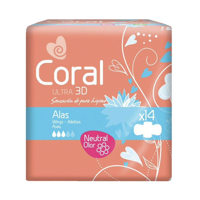 Compresas coral ultra alas normal 14 uds.