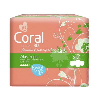 Compresas coral ultra alas super 12 uds.