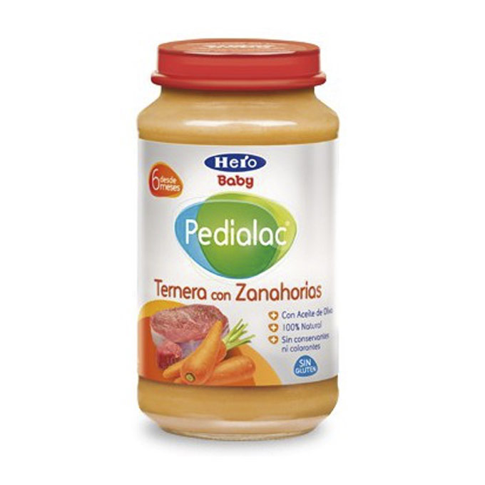Tarrito ternera y zanahorias 250 g. Hero baby Pedialac