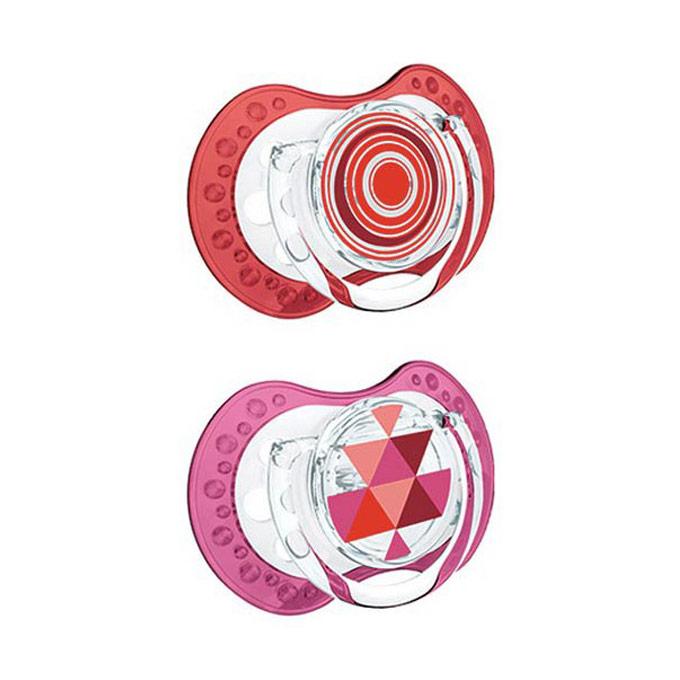Chupetes de 0 a 3 meses dinámicos de silicona metno rojo y rosa Lovi