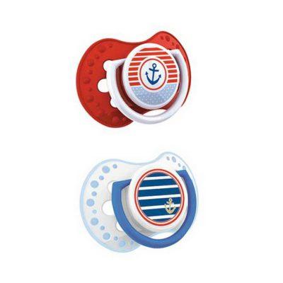 Chupetes de 0 a 3 meses dinámicos de silicona marine rojo y blanco Lovi