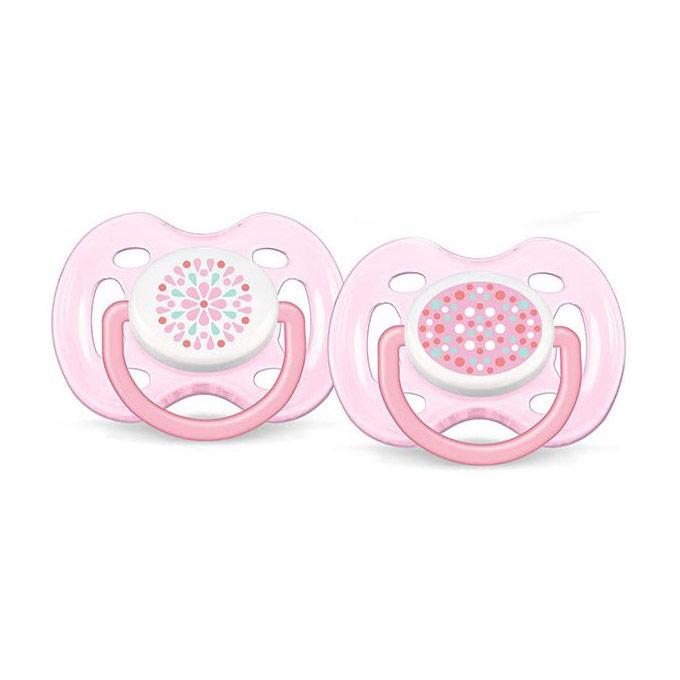 Chupetes de 0 a 6 meses decorado ventilado rosa Avent