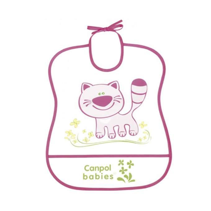 Babero de plástico animales con bolsillo de color rosa Canpol Babies