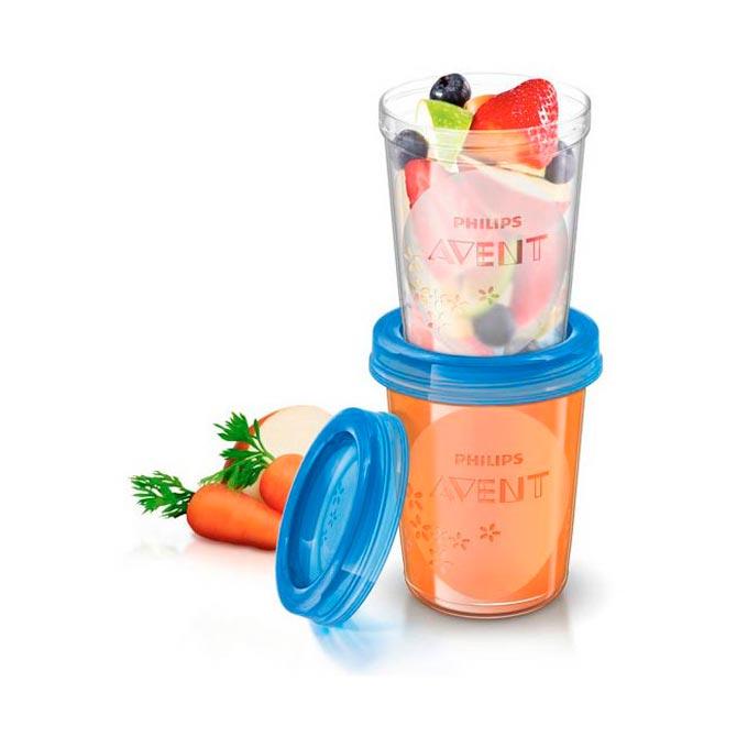 Set 5 vasitos almacenamiento comida 240 ml. Avent