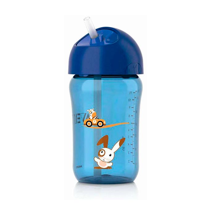 Vaso pajita +18 meses 340 ml. azul Avent